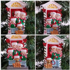 Personalised Christmas Tree Decoration Mum Dad Kids & Pet Dog Family 2 - 4