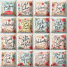 HB- KQ_ Colorful Flower Letter Print Pillow Case Cushion Cover Home Sofa Decor F