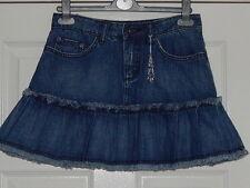 BNWOT Oasis Short Flare Blue Denim Boho Skirt w/ Heart CHARM Attachment size 8