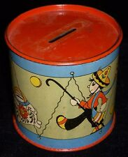 1940's - 1950's Tin Drum Coin Bank Illustrated by Fern Bisel Peat