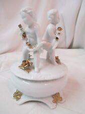 Vintage porcelain Trinket Powder Jar with 3 Cherubs Roses white & gold