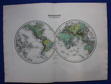 ORIGINALE Antico Mappa Mondo in emisferi, quota ALTIMETRICA al di sopra di mare, MIGEON, 1891