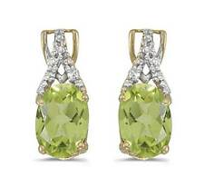 14k Yellow Gold Genuine Natural Oval Peridot and Diamond Earrings