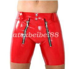 100%25 Latex Rubber Sexy Tight Handsome Cool Briefs Shorts With Zipper Size S-XXL
