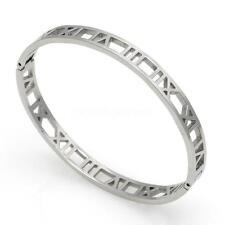 Women Ladies 3 Colors Roman Number Hollow Stainless Steel Bangle Bracelet