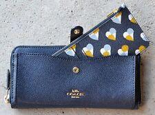 NWT Coach Multifunction Checker Heart Midnight Zip Wallet Clutch 25964 $275