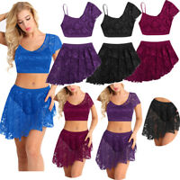 Women Lycra Lace Dress maxi Skirts Adult Ballet Dance Leotard Bodysuit Costumes