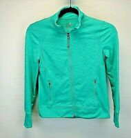 Tangerine Women's Small Slim Athletic Sweatshirt Green Full Zip w/Thumb Holes