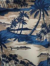 AFTCO BLUEWATER Large Hawaiian Aloha Shirt Fish Palms Islands Hawaiian Sunset