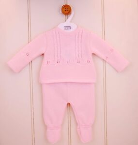 Pex Spanish Knitted Pink Girls 2pc Top and Pants Set - Fiorella