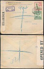 Malta 1942 censurata BUSTA Gozo... Aquilina... registrati 6D + 1 / 2D per GB