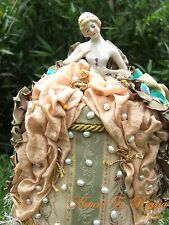 Antique German China Pin/cushion HalfDoll Artist Signed