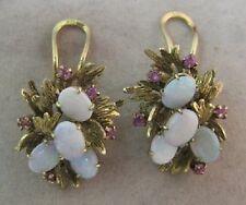 14K Gold  Opal Cluster Earrings - Leafy Motif