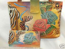 "Anuschka Medium Hand-Painted Leather Tote & Wallet Set ""Rose Safari"" NWT"