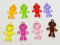 50 Mixed Color Transparent Acrylic Girls Pendants 30X17mm Dangle Charms