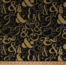 Ampersands And Symbols Fonts Black Gold Metallic Cotton Fabric Print BTY D401.28