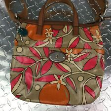 Fossil Key-Per PVC Coated Fabric Crossbody Canvas Dual Handle Satchel 2 Pockets