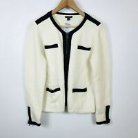 NWT Womens Petite Ann Taylor Ivory Cream & Black Full Zip Wool Blend Sweater