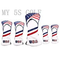 5pcs Golf USA Flag Driver Cover Fairway Wood Cover Hybrid Cover UT for Callaway