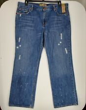 Old Navy Womens sz 16 Short Medium Blue Wash Slight Distressed Paint Splater NWT