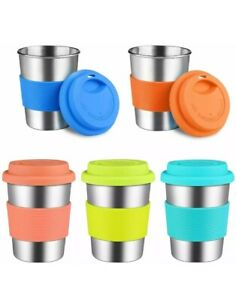 Kids Stainless Steel Cups With Silicone Lids & Grip Sleeves, 5 Pack 12 oz.