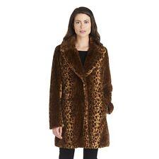 Kensie Leopard-Print Faux-Fur Coat - Women's Size XL, Brown