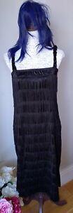 Adult Ladies Black 1920's Flapper Dress, Plus Blue Wig. Size 14/16 GC