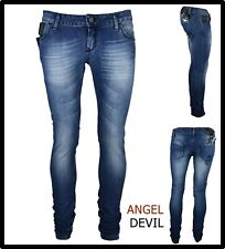 jeans pantaloni da donna angel devil elasticizzati vita bassa skinny 44 46 48 50