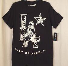 Large TONY HAWK T-Shirt Mens Black Tropical Star LA CITY OF ANGELS New