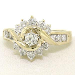 14k Yellow Gold 1.00ctw Keepsake Channel Round Diamond Cocktail Engagement Ring