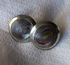 Iguala Mexico Sterling Silver Abalone Big Round Earrings estate signed VCC screw