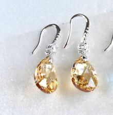 Women Lady Swarovski Element Crystal White Gold Plated Tear Dangle Earrings