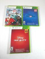 Lot of 3 Disney Infinity 1.0 2.0 & 3.0 Edition Microsoft Xbox 360 Games CIB