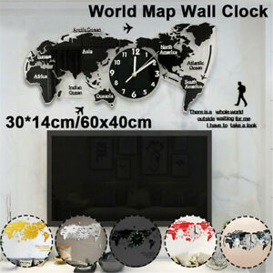 Wall Clock DIY 3D World Map Smooth Solid Crystal Wall Sticker Hanging Decor New