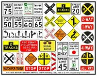 Highway & Roadway Travel Signs, Children Party Stickers, Railroad Signs, 1 Sheet