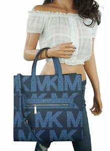 MICHAEL KORS KENLY LARGE GRAPHIC LOGO TOTE SATCHEL BAG MK SIGNATURE DARK CHAMBRY