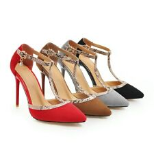 Women's High Heels Faux Leather T-Strap Suede Fabric D'Orsay Pumps Pointed Shoes