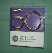 "WILTON  50TH ANNIVERSARY PICK' CAKE TOPPER' MINT IN BOX' NEW"" FREE SHIPPING"