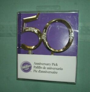 "WILTON  50TH ANNIVERSARY PICK' CAKE TOPPER' MINT IN BOX' NEW"" FREE SHIP"