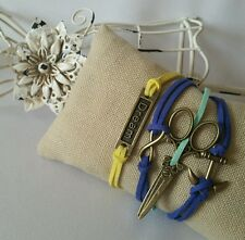 Leather Bracelet Blue Cute scissor Infinity Dream Bronze Charm Silver USA