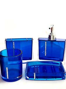 Acrylic Blue 4 Piece Bathroom Soap Dispenser Toothbrush Holder Mug Dish Set