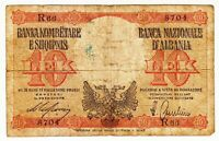1940 Albania 10 Lek Italian Occupation WWII Paper Money Banknotes Currency
