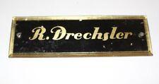original antikes Schild Klavierbauer Piano Klavier ~1880 R. Drechsler Glas Gold