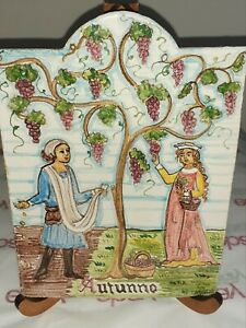 Hand Painted Tile Autunno in Tuscany, Artist signed, Italian Pottery EXQUISITE!!