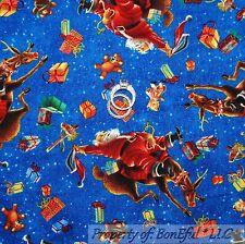 BonEful FABRIC FQ Cotton Quilt VTG Blue Red Santa Cowboy Toy Reindeer Snowflake