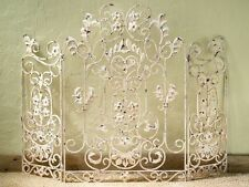 French Country Old World Antique White Iron Floral Fireplace Screen,46'' x 34''H
