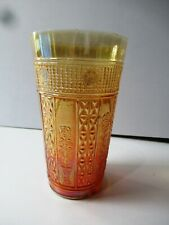 """Antique Carnival Glass Tumblers Jain Indian Embroidered Panels Rose Plant """"F024"""