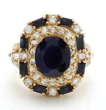 4.85 Carat Natural Blue Sapphire & Diamond in 14K Solid Yellow Gold Women's Ring