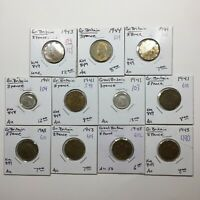 Mixed Lot of Eleven (11) Three Pence Coins of Great Britain WW2 Era 1941-1944