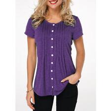 4d1478fcf0 Womens Short Sleeve Button Down Shirts Tunic Tops.